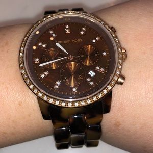 Tortoise shell Michael Kors watch with rhinestone